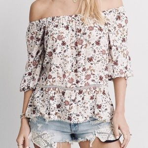 AEO Off The Shoulder Floral Shirt